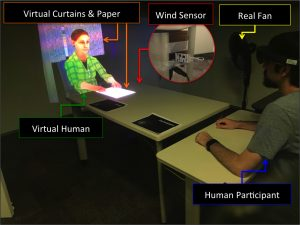 Blowing in the Wind: Increasing Copresence with a Virtual Human via Airflow Influence in Augmented Reality