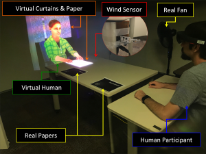 Blowing in the Wind: Increasing Social Presence with a Virtual Human via Environmental Airflow Interaction in Mixed Reality