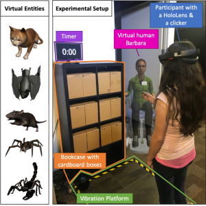 Analysis of Peripheral Vision and Vibrotactile Feedback During Proximal Search Tasks with Dynamic Virtual Entities in Augmented Reality