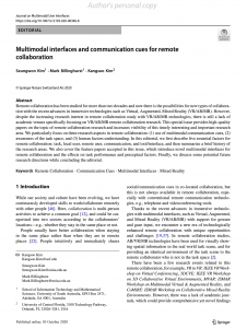 Multimodal interfaces and communication cues for remote collaboration
